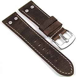 Minott Replacement Watch Strap Vintage Look Leather Band 24 mm 756 – 24 mm