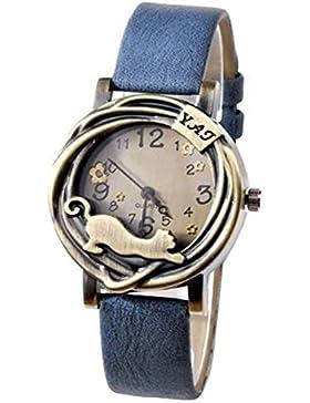 Damen Katze & Blumen Quartz Analog Uhr Armbanduhr Bronze Gehäuse Blau