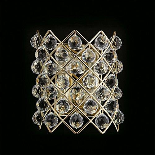 Applique lussuoso elegante colore oro francese lucido metallo gocce cristalli trasparente vintage decorativo compatto in stile barocco classico 4-bulb excl.E14 4x60W 230V-escl