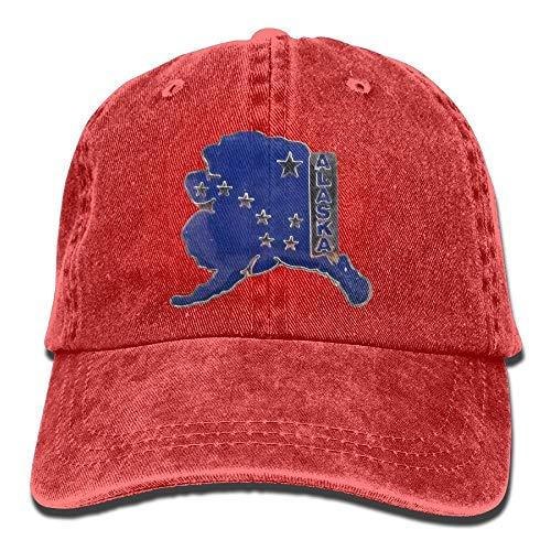 Wdskbg Alaska-Flaggen-Entwurfs-Unisexjustierbare Baseballmütze Denim-Hüte Cowboy-Sport im Freien New17