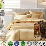 Bettbezug Set,Chickwin Pure Color Generic Satin Luxus Seide Bettdecke Bettbezug Set Bettwäsche Sets enthalten Bettbezug Bettlaken Kopfkissenbezüge (Gold, Single (135*200cm))
