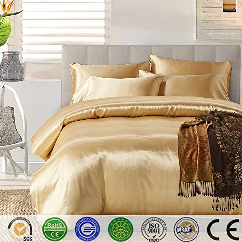 Bettbezug Set, Dotbuy Pure Color Generic Satin Luxus Seide Bettdecke Bettbezug Set Bettwäsche Sets enthalten Bettbezug Bettlaken Kopfkissenbezüge (Single (135*200cm), Gold) -