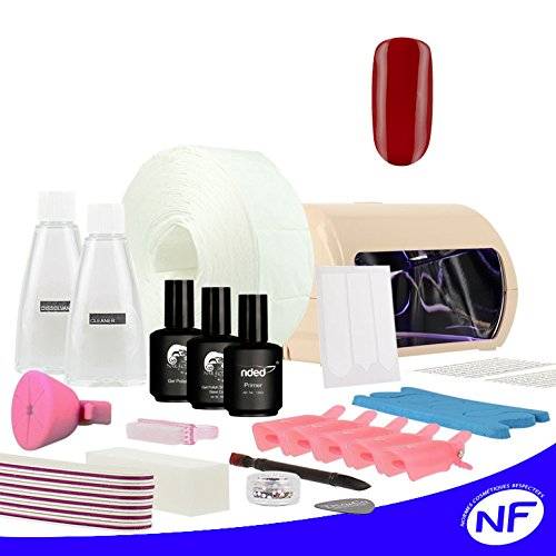 Kit vernis semi permanent french manucure 15 ml couleurs rouge lampe LED UV 9 Watts.