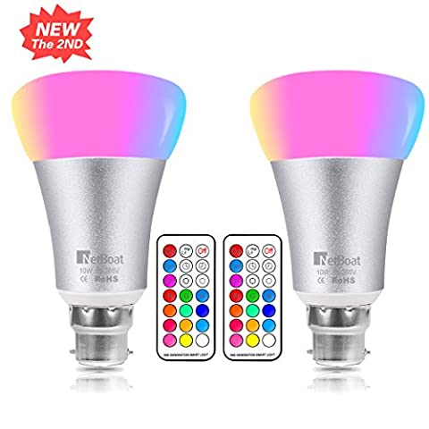 10W Colour Changing Light Bulb,NetBoat B22 RGBW Led Light Bulbs Dimmable,RGB Bayonet Light Bulb,Updated Pure Daylight White,Disco Party Home Mood Lighting,Pack of 2