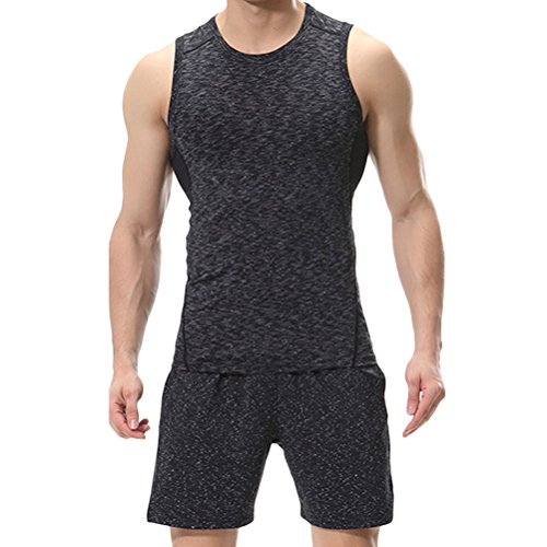 Zhhlaixing Two pieces Men's Fitness Clothing Set Summer Comfortable Sportswear Dark Gray