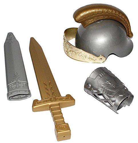 4 tlg. Set: Ritter / Wikinger / Gladiator - mit beweglichen Visier - Helm mit Schwert & Scheide / Ritterschwert - Wikingerschwert - Kinder / Ritterhelm - Armschutz - Jungen (Helm Kostüm Reiter)