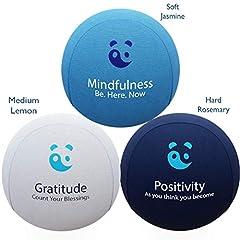 Idea Regalo - Set di 3 Palline Antistress Profumate per Mente e Corpo in morbido Gel TPR – CON AROMATERAPIA E SCRITTE MOTIVAZIONALI per alleviare Ansia e Stress. Ottime per Rafforzamento delle Dita.