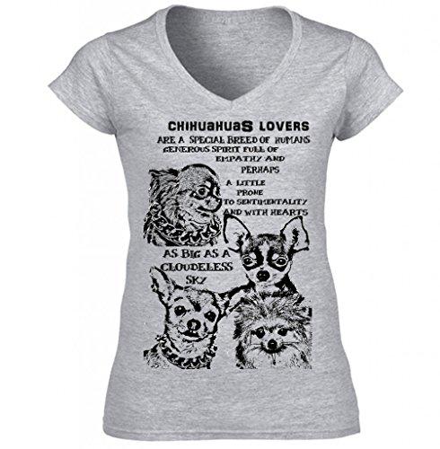 Teesquare1st Women's CHIHUAHUAS DOG LOVERS B Grey Tshirt XXLarge Size