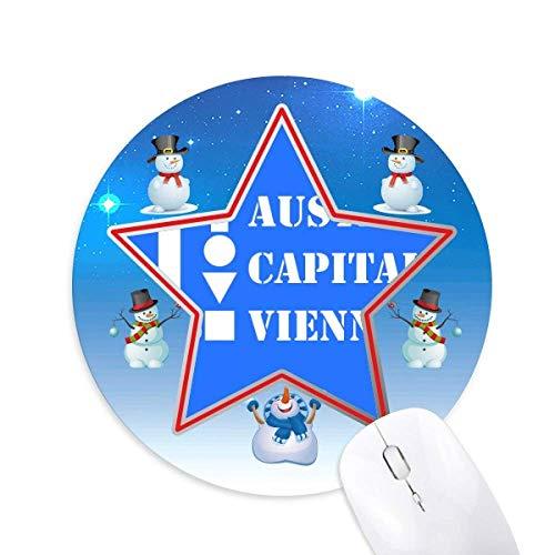 Ã-sterreich Hauptstadt Wien Snowman Mouse Pad Round Star Mat