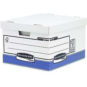 fellowes 0030901 grande caisse pour archives banker box system montage automatique bleu