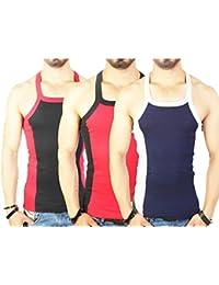 Zimfit Men's Gym Vest 112 Pack Of 3 (Black_Red_Navy)
