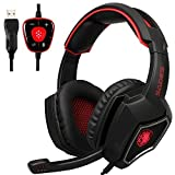 USB Gaming Headset, SADES Spirit Wolf 7.1 Surround Sound Kopfhörer mit Mikrofon, Over-the-Ear Geräuschisolierung PC Headset für PC-Spieler (schwarz rot)