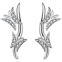 SaySure - Silver plated earrings for women Double Butterfly (4 Double Wall Tip)