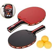 Amaza Palas Ping Pong, Table Tennis Set, 2 Raquetas + 3 Pelotas de Ping-Pong (Rojo)