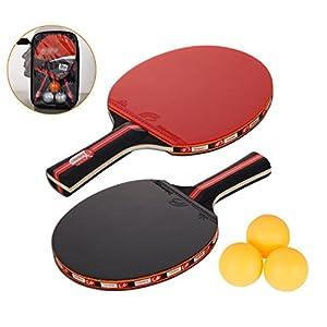 Amaza Professionel Tischtennis-Set – 2 Tischtennisschläger + 3 Tischtennis Bälle für Amateure, Anfänger, Experten