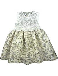 e3ef5d57a Foque - Vestido para niña con Cuerpo de Encaje y Falda Estampada. Forro  Interior.