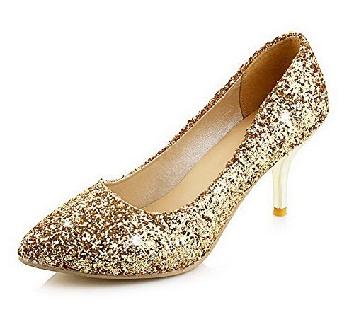 bc5a832b3f3497 AllhqFashion Damen Weiches Material Ziehen Auf Spitz Zehe Mittler Absatz  Rein Pumps Schuhe Golden