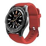 Bluetooth Smart Watch,QIMAOO 1.3 Zoll Sport Smart Handy Uhr Telefon Fitnessarmband mit Kamera SIM / TF Karten Slot Pedometer Touch Screen für iPhone Android IOS System Smartphone(Rot)
