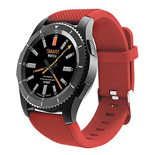 Bluetooth Smart Watch,QIMAOO 1.3 Zoll Sport Smart Handy Uhr Telefon Fitnessarmband mit Kamera SIM / TF Karten Slot Pedometer Touch Screen für iPhone Android IOS System Smartphone(Rot)