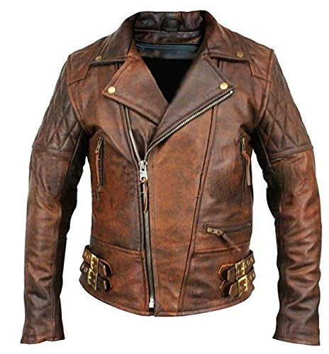 Mbeez Herren Classic Diamond Brown Distressed Brando Gesteppte Biker-Lederjacke (XXL)