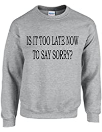 IS IT TOO LATE NOW TO SAY SORRY? ~ JUSTIN BIEBER ~ GREY SWEATSHIRT ~ UNISEX SIZES S - XXL