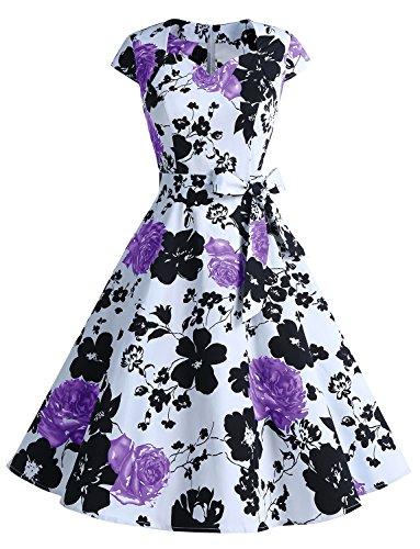 Dressystar Einfarbiges Kleid Vintage V-Ausschnitt Kurzarm Damen Kleider mit Gürtel Swing
