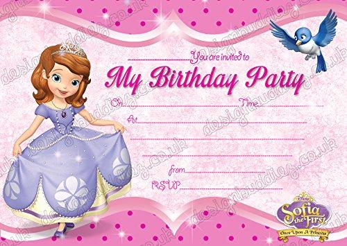 10x Mädchen Geburtstag Party Einladungen Sofia die Erste Dick Karten + kostenlose Umschläge