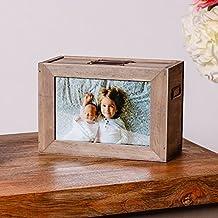 Caja de almacenaje de madera con marco para fotos- el regalo perfecto para el 5º aniversario.