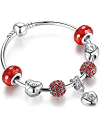 Carina Sterling Silver Plated Bangle Pandora Red Trendy Charm Bracelet For Women Girls