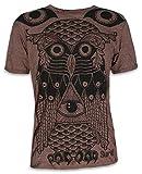 Sure Herren T-Shirt Allsehendes Auge Eule Illuminati Freidenker Freigeister Goa Psychedelics (Braun M)