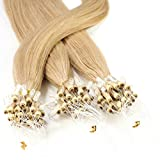 Hair2Heart 25 x 1g Microring Loop Extension Capelli Veri - 40cm - Liscio, Colore #18 biondo chiaro dorato