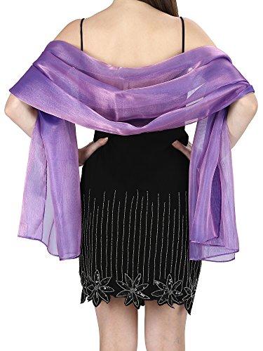 World of Schals Seidig, irisierend Wrap Stole Schal für Hochzeiten Bridal Brautjungfern Abend Ball und Partys - lila Heather, 70 x 180 Cms