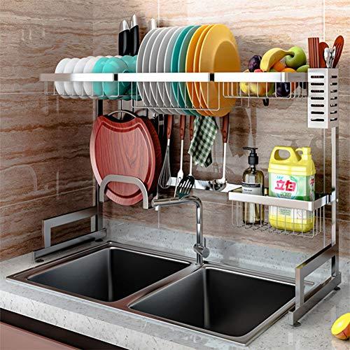 Escurreplatos de acero inoxidable 304 de 85 cm para cocina con soporte para utensilios de cocina, fregadero, fregadero, escurreplatos con soporte para tabla de cortar