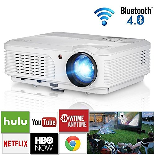 LCD Beamer 3200 Lumen HD Bluetooth Beamer WIFI Android 6.0 Unterstütz 1080p HDMI Airplay Miracast LED Heimkino Projektor für Smartphone-Outdoor Indoor Film Videospiele Unterhaltung Tablet iPad