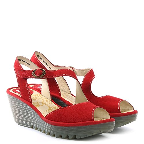 Fly London Womens yamp 836 Nubuck Sandals Lipstick Red
