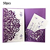 FifijuanC Lot de 50 cartes d'invitation de mariage découpées au laser avec ficelle de jute pour mariage, fête prénatale, anniversaire, invitations de mariage, vœux de mariage 18 * 12.5cm violet