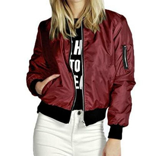 Reißverschluss Kurz Jacke Damen Btruely Frau Herbst Slim Mantel Parka Outwear Strickjacke (S, Wein) (Super-reißverschluss-stiefel)