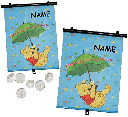 2 tlg. Set: Sonnenschutz - Rollo / Winnie the Pooh - incl. Namen - für Fenster und Auto - Seitenscheibe / Sonnenblende Kinder - Sonnenrollo Fensterschutz Rollos - Teddybär