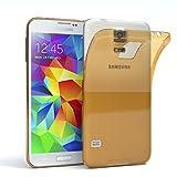 EAZY CASE GmbH Hülle für Samsung Galaxy S5 / S5 LTE+ / S5 Duos / S5 Neo Schutzhülle Silikon, Ultra dünn, Slimcover, Handyhülle, Silikonhülle, Backcover, Transparent/Durchsichtig, Gold