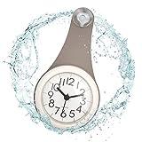 ufengke Orologio da Parete Impermeabile Bagno Lunghi Grigio Orologio da Muro al Quarzo con Ventosa Portatile, 10.5 x 22 x 4.5 cm