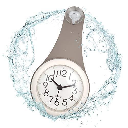 ufengke Grau Badezimmer Wasserdicht Wanduhr mit Saugnäpfe Schicke Lang Quarzuhr Deko für Küchen, 10.5 x 22 x 4.5cm
