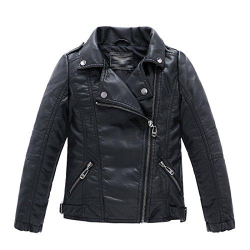 LJYH Kinderkragen motorrad KUNSTLEDER mantel Jungen Leder jacke, Black, Gr. 4-5 Jahre (Kids Leder-jacke Für)