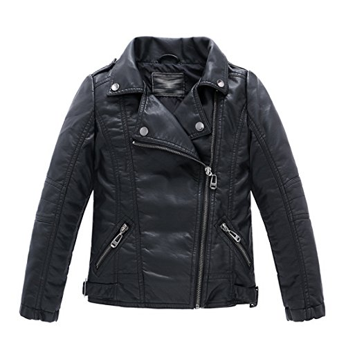 LJYH Kinderkragen motorrad KUNSTLEDER mantel Jungen Leder jacke 4-5years (104 cm), schwarz (Schwarzes Leder-motorrad-jacke-mantel)