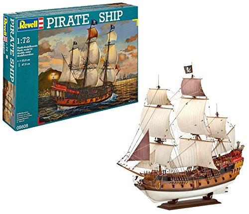 Revell Modellbausatz Schiff 1:72 - Piratenschiff im Maßstab 1:72, Level 5, originalgetreue Nachbildung mit vielen Details, Segelschiff, 05605 (Modell Piratenschiff)