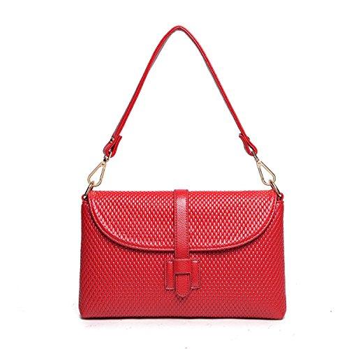 ZPFME Handtaschen Der Frauen Handtasche Einfach Kollokation Schulterbeutel Mädchen Partei Retro Damen Art Und Weise Diagonales Paket Damebeutel Red