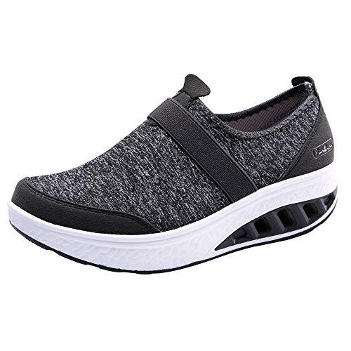 TTLOVE 2018 Frauen Mesh erhöht Schuhe Plattform Keilabsatz Laufschuhe Trainer aktiv mit speziellen Runde Gondola Sohle Damen Schuhe Größe Comfort Unisex Radfahren Walking Casual Schuhe - Sohle Comfort Schuhe