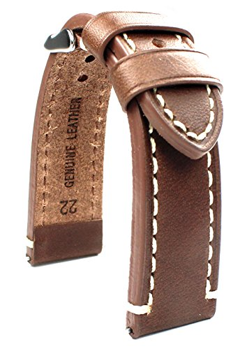LEDERBAND 22 mm BAND CATALONIA Fliegeruhren Retro Look STRAP brown / braun