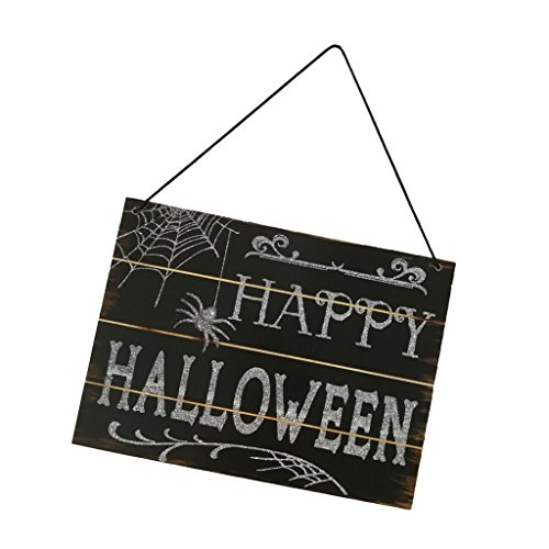 Happy Halloween'' Schilder Holzschild Hängende Dekoration Holzdeko auf Wand Tür Fenster Stuhl und Garten ()