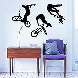 haochenli188 Art Décor À La Maison Murale Saut De Vélo Cycliste BMX Freestyle Sautant Sticker Sports Extrêmes Sticker Mural Garçons Chambre Vinyle 55x88cm
