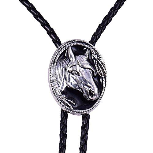 Hellery Rodeo Horse Head Bolo Tie Vintage Silver Bola Tie Western Cowboy Corbata